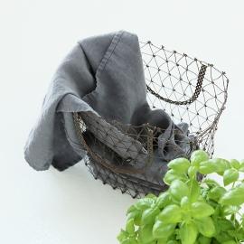 Viskestykker i hør, 2 stk., grå, stenvaskede