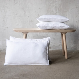 Optical White Linen Cushion Cover Stone Washed