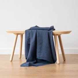 Badehåndklæde i hør, forvasket, Indigo, Waffle