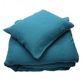 Sengesæt i stenvasket-hør, Marine Blue