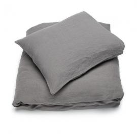 Sengesæt i stenvasket-hør, Steel Grey