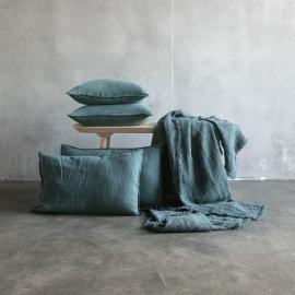 Pudebetræk i hør, grønt, stenvasket