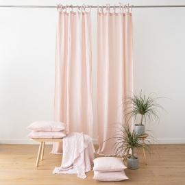 Hørgardin med bindebånd, lyserødt, stenvasket