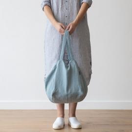 Strand-taske i hør, stenblå, Lara