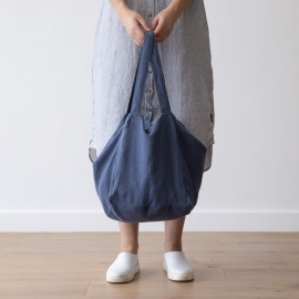 Strand-taske i hør, vintage indigo, Lara