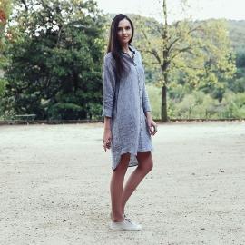 Skjortekjole i hør, sølv, Melange Paula