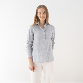 Hørskjorte, marineblå, Stripe Fabio