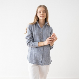 Skjorte i hør, marineblå, Melange Ernesto