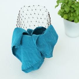 Viskestykker i hør, 2 stk., marineblå, stenvaskede
