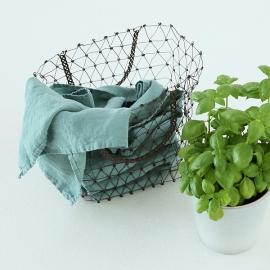 Viskestykker i hør, 2 stk., grøne, stenvaskede
