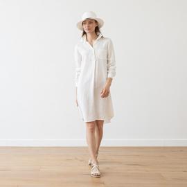 Skjortekjole i hør, hvid, Camilla