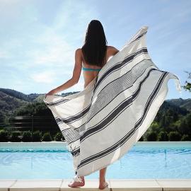 Indigo Hvidt Strandhåndklæder i Hør Provence Fringe
