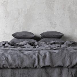 Dynebetræk i hør, grå, stenvasket