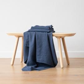 Sæt af badehåndklæde og håndklæde i hør, forvasket, Indigo, Waffle