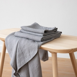 Sæt af badehåndklæde og håndklæde i hør, graphite-farvet, forvasket, Waffle