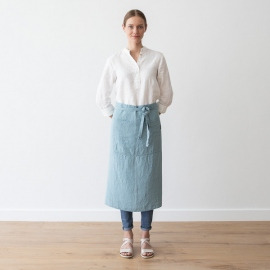 Serveringsforklæde i hør, stenblå, stenvasket