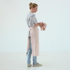 Serveringsforklæde i hør, lyserødt, stenvasket