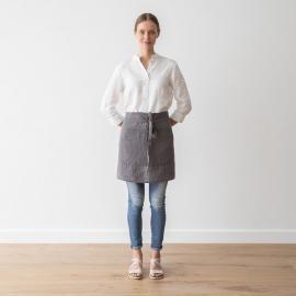 Kort forklæde i hør, stålgråt, stenvasket