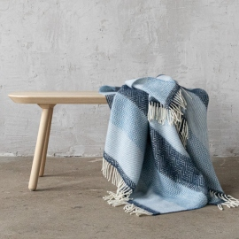 Plaid i 100% uld, blå, Valentino