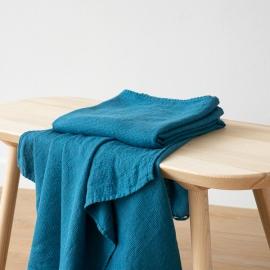 Håndklæder i hør, 2 stk., havblå, Waffle