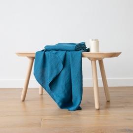 Badehåndklæde i hør, havblå, forvasket, Waffle