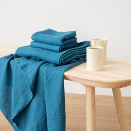 Badehåndklæde og håndklæde i hør, havblå, Waffle