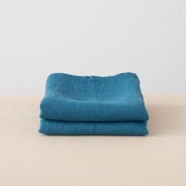 Badehåndklæde i hør, havblåt, forvasket, Waffle