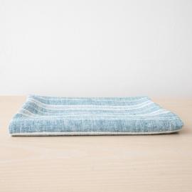 Badehåndklæde i hør, marineblåt, Multistripe