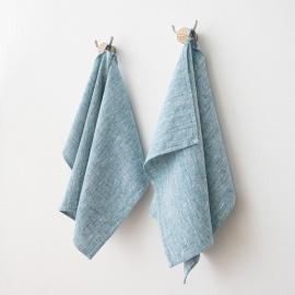 Hørhåndklæder, 2 stk., marineblå, Francesca