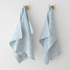 Hørhåndklæder, 2 stk., marineblå, Brittany
