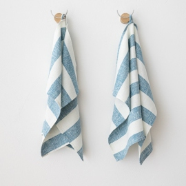 Hørhåndklæder, 2 stk., marineblå, Philippe