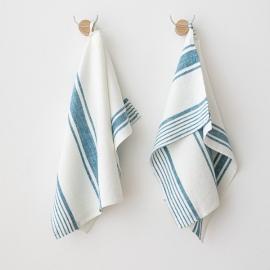 Sæt af håndklæder i hør, marineblå, Tuscany