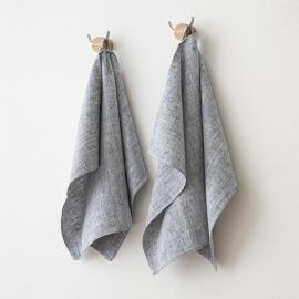 Sæt af 2 håndklæder i hør, indigo, Francesca