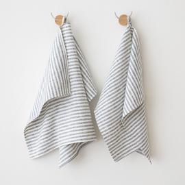 Sæt af 2 håndklæder i hør, indigo, Brittany