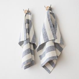Sæt af håndklæder i hør, indigo, Philippe