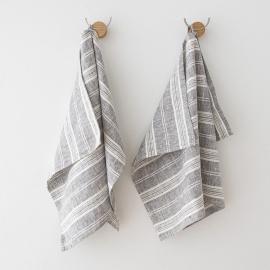 Håndklæder i hør, 2 stk., Graphite Multistripe