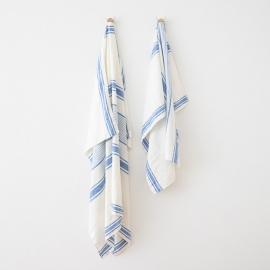 Strandhåndklæde i hør, hvidt / blåt, Tuscany