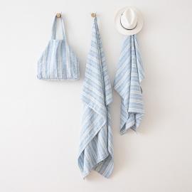 Strandhåndklæde i hør, blåt / hvidt, Multistripe