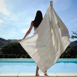 Strandhåndklæde i hør, birkefarvet, Francesca