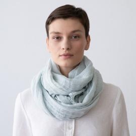 Sommertørklæde i hør, isblåt, Garza Fringe