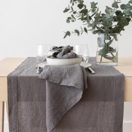 Stålgrå bordløber i hør, stenvasket