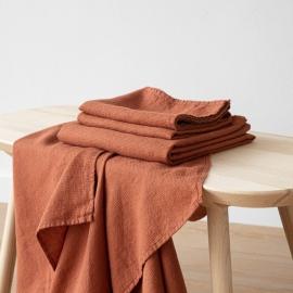 Badehåndklæder i hør, 2 stk., Rust, Waffle