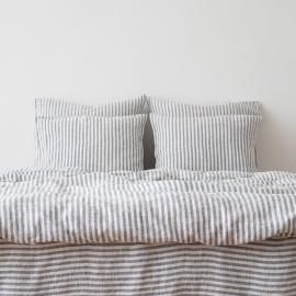 Dynebetræk i hør, indigo, forvasket, Ticking Stripe