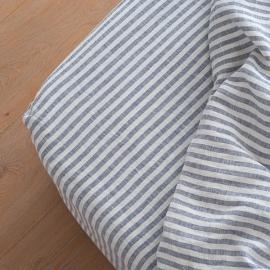 Faconlagen i hør, indigo, forvasket, Ticking Stripe