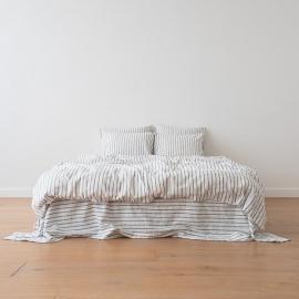 Dynebetræk, indigo, forvasket, Stripe