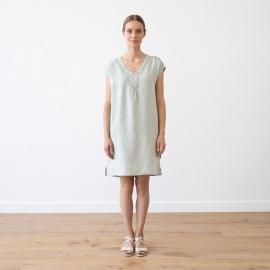 Kjole i hør, blå, Emily Melange