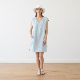 Kjole i hør, sølv, Emily Melange