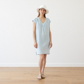 Kjole i hør, himmelblå, Emily Melange