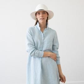 Kjole i hør, himmelblå, Camilla Melange