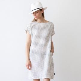 Kjole i hør, hvid / marineblå, Alice Checked